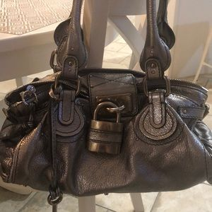 Chloe paddington silver leather bag